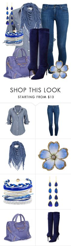 """""""Jeans and boots"""" by amy-brandstatter ❤ liked on Polyvore featuring Silver Jeans Co., Paige Denim, Bickley + Mitchell, Domo Beads, Pippa Small, Balenciaga and Stuart Weitzman"""