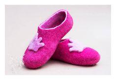 Felted Pink Princess Slippers.  Follow us on Facebook! https://www.facebook.com/kensingtonFelt/
