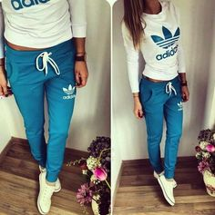 #pants #shirt #adidas Stylish women's blue and milky sweatsuit