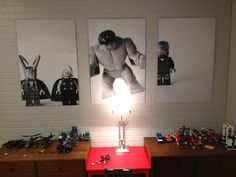 Take pictures of your children's favorite toys, blow them up into large posters for the play room