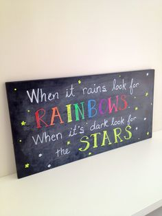 Rain in your life...don't worry, a rainbow is close by! Used #FunChalkMarkers for this sign. On Amazon.com. www.goldstarselections.com  #ChalkboardSigns #ChalkMarkers #ChalkPens #Signs #Rainbows #Stars #FunChalkMarkers