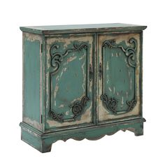 """Progressive Furniture Belle Door Cabinet in Zesty Green at Lowe's. This exquisite French style door cabinet is an antique lovers dream in a unique """"zesty green"""" finish. The doors are gracefully adored with intricate Green Furniture, Hooker Furniture, Shabby Chic Furniture, Furniture Deals, Shabby Chic Decor, Furniture Making, Painted Furniture, Furniture Redo, Upcycled Furniture"""