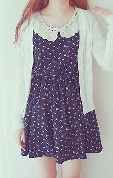 summer dress with cool caller, kinda vintage Kawaii Fashion, Cute Fashion, Asian Fashion, Womens Fashion, Style Ulzzang, Cute Dresses, Cute Outfits, Estilo Preppy, Vintage Outfits