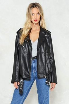 It's the thrill of the fight. The Eye of the Tiger Jacket comes in vegan leather and features an oversized, longline silhouette, asymmetric zip closure, and belt at waist. Moto Jacket, Leather Jacket, Nasty Gal, Vegan Leather, Nice Dresses, Fashion Accessories, Feminine, Fashion Outfits, My Style