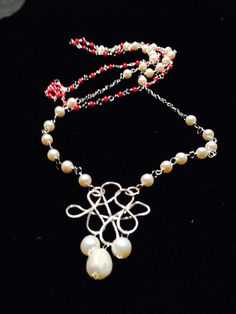 Two Layer Sterling Silver Pearl and Coral Necklace