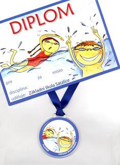 medaile a diplom za plavání Sporty