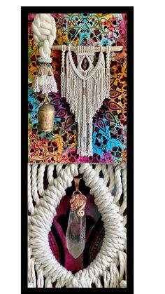 The perfect Boho wall decor. Beautiful handcrafted crystals in Macrame Wall Hangings.