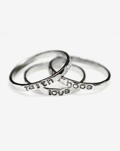 Faith Hope Love Hammered Sterling Silver