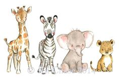 animados Dschungel Kinderzimmer Kunst, Kinderzimmer Dekor, Safari-Freunde, Wand Aufkleber Kit Chase Kunstwerk, wiederverwendbar SAFARI Friends Wall Decal by trafalgarssquare on Etsy - Animal Children: Giraffe - Zebra - Elephant - Lion . Cute Drawings, Animal Drawings, Jungle Nursery, Nursery Decor, Nursery Artwork, Jungle Safari, Childrens Room Decor, Gouache Painting, Watercolor Paintings