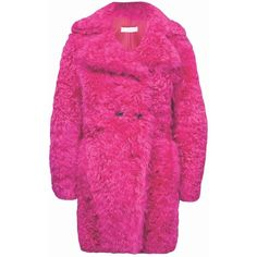 Moka London - Cherry Shearling Peacoat ($900) ❤ liked on Polyvore featuring outerwear, coats, sheep fur coat, pea coat, pink peacoat, pink coat and peacoat coat