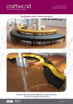 The Brighton Dome - Peyton and Bryne. Bespoke modular metal frame benches in leather. Design concept by DesignLSM.