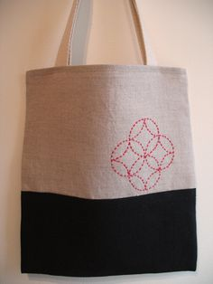 Seven Treasures Bag. Linen fabric, cotton straps, DMC perle cotton embroidery thread.