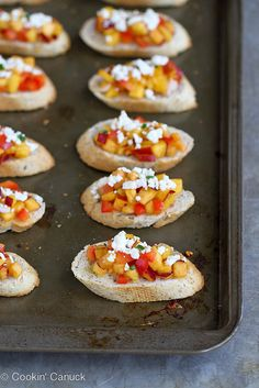 Sweet Nectarine Crostini Recipe with Feta Cheese  | cookincanuck.com #recipe #appetizer #healthyrecipes