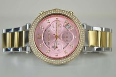 Michael Kors Damenuhr Uhr MK6140 Parker Gold Rosa Silber