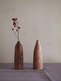 wooden vase by gomoku, japan