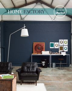 Cool Warehouse Living Room Painted in Indigo Night by Dulux - Living Colors, Paint Colors For Living Room, Home Deco, Deco Cool, Warehouse Living, Dark Blue Walls, Greyish Blue, Blue Grey, Interior And Exterior