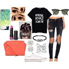 not normal by melody02craig on Polyvore featuring polyvore fashion style Lovers + Friends Converse MICHAEL Michael Kors Jewel Exclusive Ray-Ban Monki