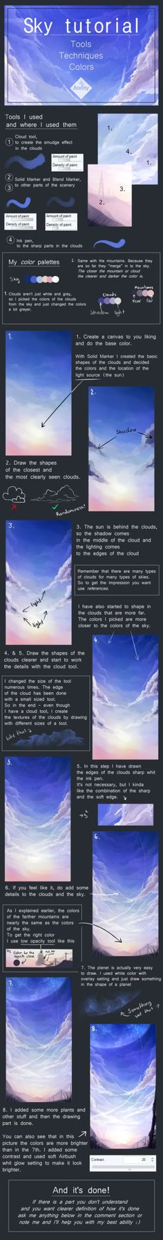 Cloudy sky tutorial by Atelity.deviantart.com on @DeviantArt
