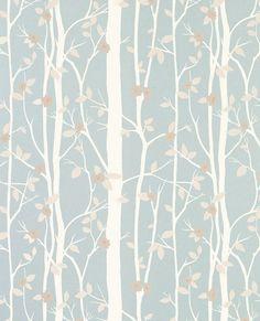 Blue Forest Design Wallpaper | Cottonwood Duck Egg Wallpaper
