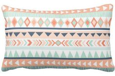 Mint & Coral Tribal Lumbar Pillow Cover with Insert Included - Baby Gift - Girls Room Decor
