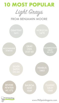 we will be sharing with you the 10 most popular light grays from Benjamin Moore. As we mentioned on the previous post, there are other paint brands that . The Effective Pictures We Offer You About dark colorful inte. Benjamin Moore Bedroom, Benjamin Moore Grey Owl, Benjamin Moore Kitchen, Benjamin Moore Colors, Benjamin Moore Paint, Benjamin Moore Moonshine, Light Grey Paint Colors, Light Grey Walls, Paint Colors For Home