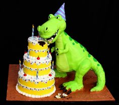 Amazing dinosaur cake: Very Hungry Dino Everything is cake except for the dino's head,tail and legs.His body and the 3 tier b-day cake is all chocolate cake. Dinosaur Birthday Cakes, Dinosaur Cake, Dinosaur Party, Dinasour Birthday, T Rex Cake, Dino Cake, Fancy Cakes, Cute Cakes, Cakes For Boys