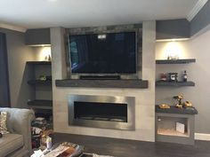 Carbon Grey mantel with matching shelves in niche Fireplace Tv Wall, Family Room Fireplace, Fireplace Remodel, Fireplace Design, Reclaimed Wood Mantel, Wood Mantels, Fireplace Mantels, Fireplace Ideas, Family Room Design