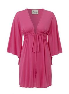 Vivid lipstick pink kimono beach cover up tunic $30