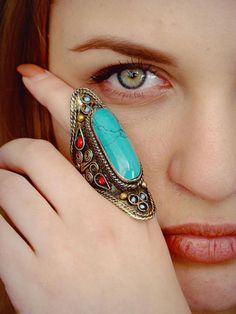 Afghan turquoise ring, bohemian massive ring,Tribal Jewellery, Kuchi Large Ring, Kuchi Pashtun Jewellery, Ethnic Jewellry ring, Green ring