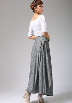 grey skirt long skirt full skirt ladies skirt handmade by xiaolizi