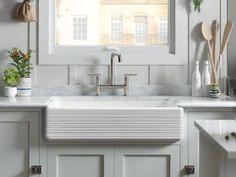 "KOHLER   K-6349   Whitehaven Self-Trimming Smart Divide 35-11/16"" x 21-9/16"" x 9-5/8"" under-mount large/medium double-bowl kitchen sink with tall apron and Hayridge design"
