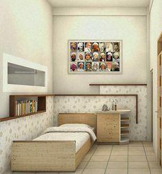 Ruang tidur dilengkapi dengan rak-rak buku yang terintegrasi dengan tempat tidur sehingga lebih nyaman secara visual. Bookcase, Shelves, Interior, Home Decor, Shelving, Indoor, Homemade Home Decor, Design Interiors, Book Shelves