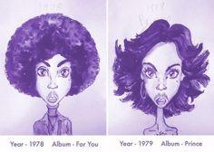 Prince e seus cabelos: ilustrações mostram a transformações de artista ao longo da carreira