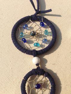 Traumfänger & Mobiles - Kleiner blauer Dreamcatcher mit Perlen - ein…