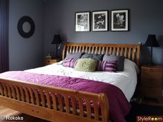 Bedroom - grey wall, wood furniture and purple bedding (slightly different shade of purple though...this is just a little bright)