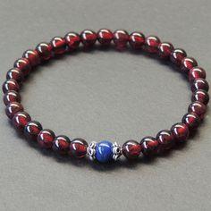 Men's Bracelet Healing Gemstone AAA Garnet Lapis Sterling Silver Handmade 570M #Handmade #MensHealingGemstoneSterlingSilverBracelet