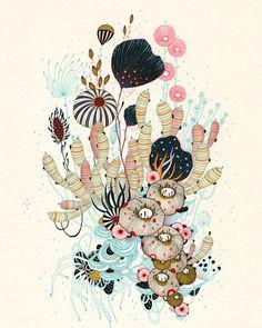 illustration | yellena - Reminds me of Ernst Haeckel Lithographs