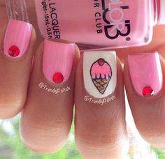 Easy nail art design   ice cream nail art   for summer   for teens