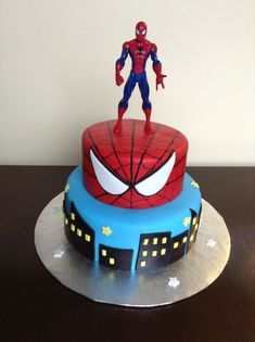 Spiderman cake - visit to grab an unforgettable cool Super Hero T-Shirt! Spiderman Birthday Cake, Spiderman Theme, Superhero Cake, Superhero Birthday Party, Birthday Ideas, 4th Birthday, Novelty Birthday Cakes, Novelty Cakes, Cakes For Men