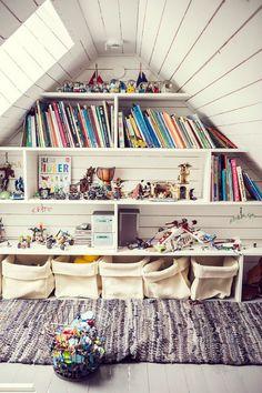 Inspiring Attic bedroom dimensions,Attic storage kings cross and Attic renovation ideas. Attic Library, Attic Playroom, Playroom Design, Attic Rooms, Attic Spaces, Kid Spaces, Attic Bathroom, Attic Office, Attic Closet