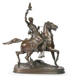 A French bronze sculpture of an Arab Falconer by Pierre - Jules Mene. Horse Sculpture, Bronze Sculpture, Equestrian Statue, Horse Anatomy, Sculptures For Sale, Decoration, Modern Art, House, Artwork