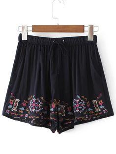 Drawstring Waist Embroidery Shorts - $18.99. https://www.bellechic.com/deals/5c3aef61939a/drawstring-waist-embroidery-shorts