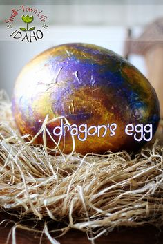 """Dragon's egg with paper mache and metallic paint. An enrichment to go along with children's book """"Raising Dragons"""" by Jerdine Yolen. Maybe play a pass the dragon's egg game (hot potato? Paper Mache Crafts, Egg Crafts, Crafts For Kids, Christmas Crafts, Dragon Birthday, Dragon Party, 10th Birthday, Expecto Patronum Harry Potter, Knight Party"""
