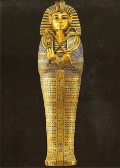 23. Tutankhamun's tomb, innermost coffin. New Kingdom. 18th Dynasty. c 1323 B.C.E Gold w inlay of enamel and semiprecious stones.