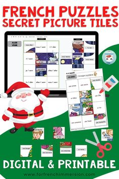 French Christmas Activity | Activité pour Noël: this is a set of 8 Christmas-themed secret pictures puzzle games in printable format and also in digital format for Google Slides / Google Classroom.Your students will work on simple verb conjugation, rhyming, and antonyms in French. Great for literacy centers (centres de littératie), but also for distance learning.