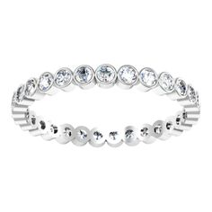 $2,060. 2mm wide. A Bezel Set Diamond Eternity Band is the epitome of security and beauty. Containing about 29 diamonds that add up to about 0.87 cttw in G color VS clarity round brilliant cut diamonds