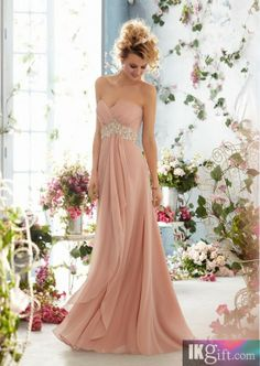 Sweeheart neckline chiffon with beading wedding dress - very swishy and elegant!