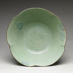 Large bowl with floral design, Edo period (1615–1868)  Japan  Porcelain with celadon glaze and underglaze blue (Hizen ware, early Imari type)