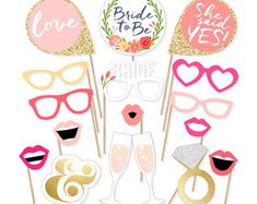 Printable Bridal Shower Photo Booth Props by PrintablePropShop
