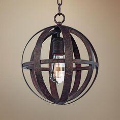 "Flatiron 10"" Wide Weathered Iron Pendant Light - #8C090   LampsPlus.com"